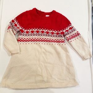 Baby Gap red and white heart latter sweater dress